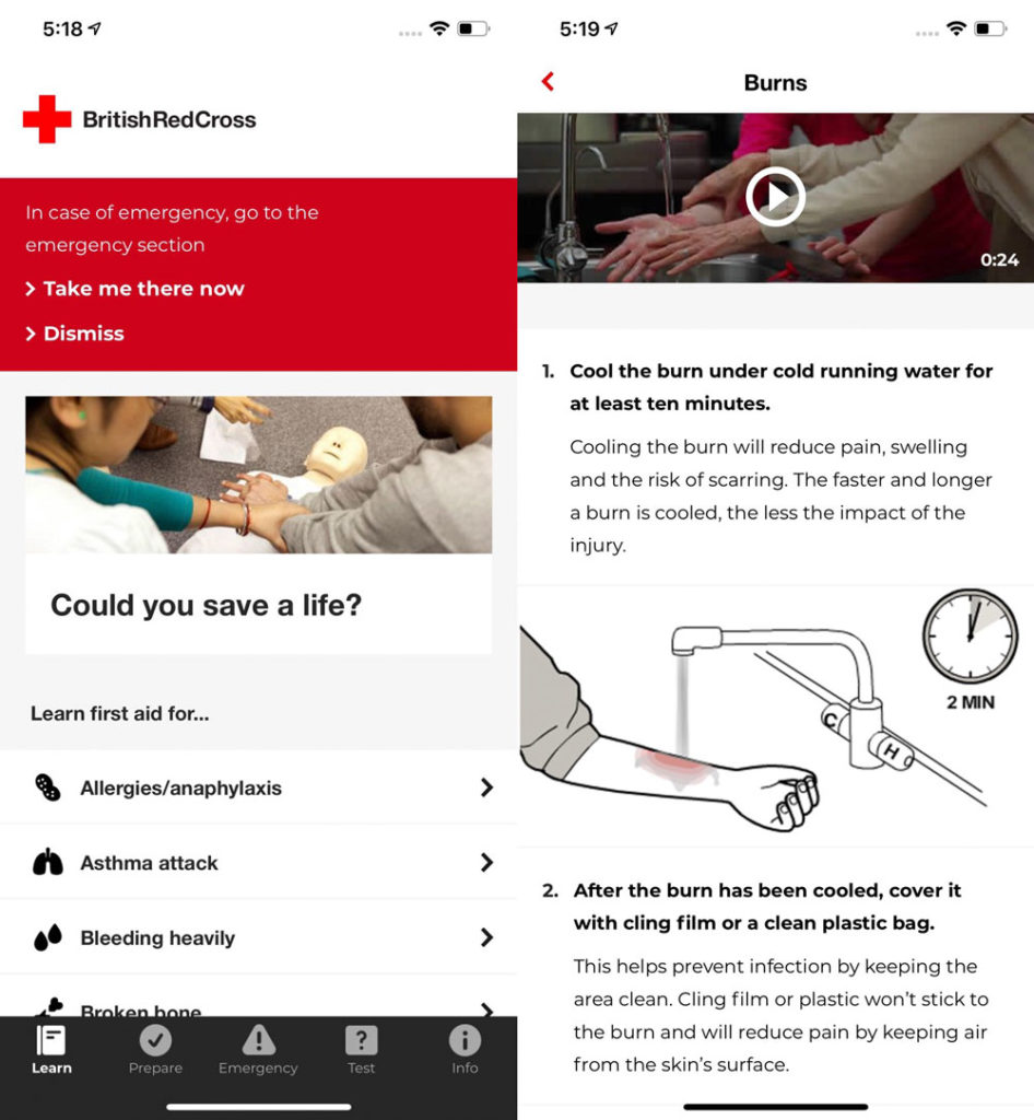 screenshots of the British Red Cross First Aid app