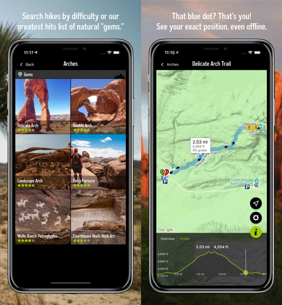 screenshots of  rei's hiking app