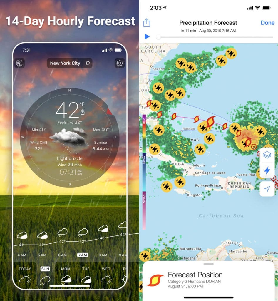 screenshots of weather live