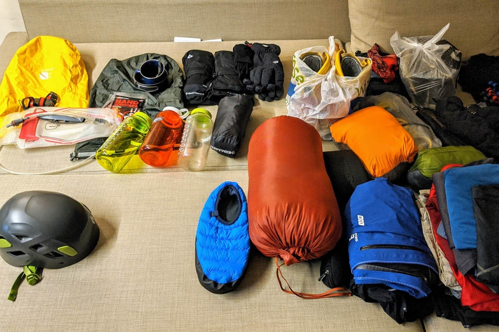 climbing gear laid out