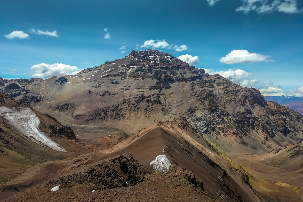 Looking across at Aconcagua from the slopes of Bonete