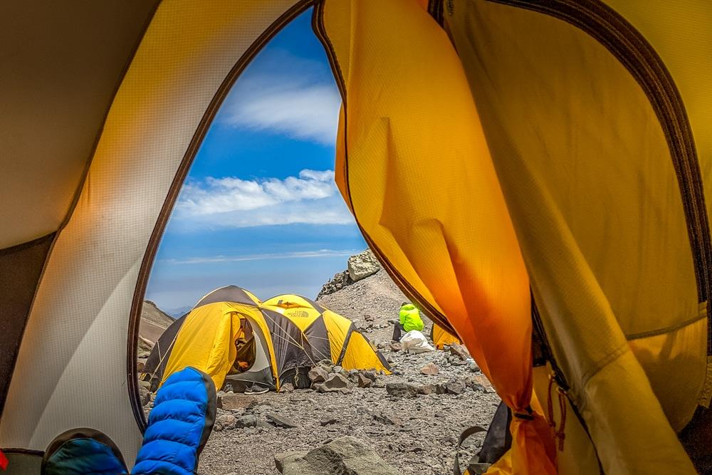 Relaxing in my tent