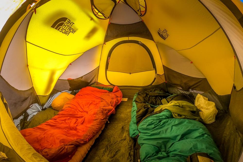 Climbing Aconcagua tent interior