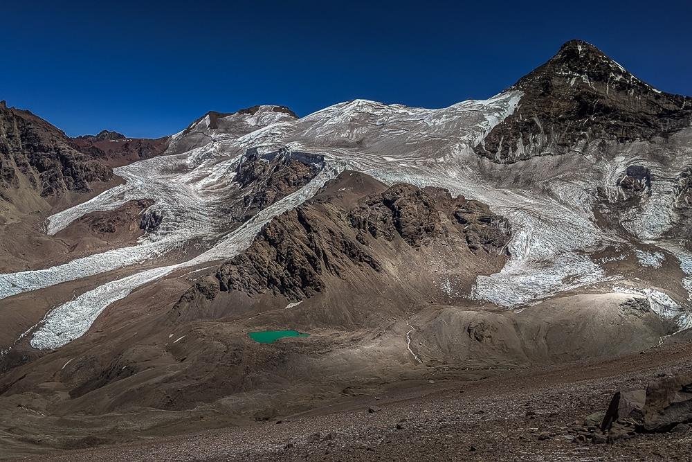 The Horcones Superior Glacier seen while climbing Aconcagua