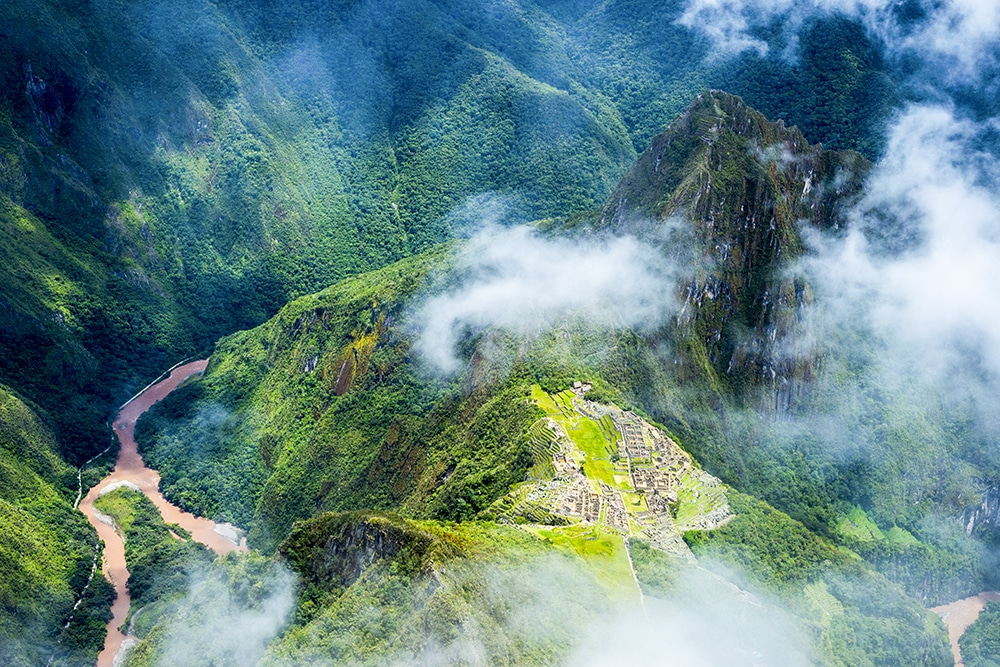 An aerial view of Machu Picchu in Peru, a megadiverse country