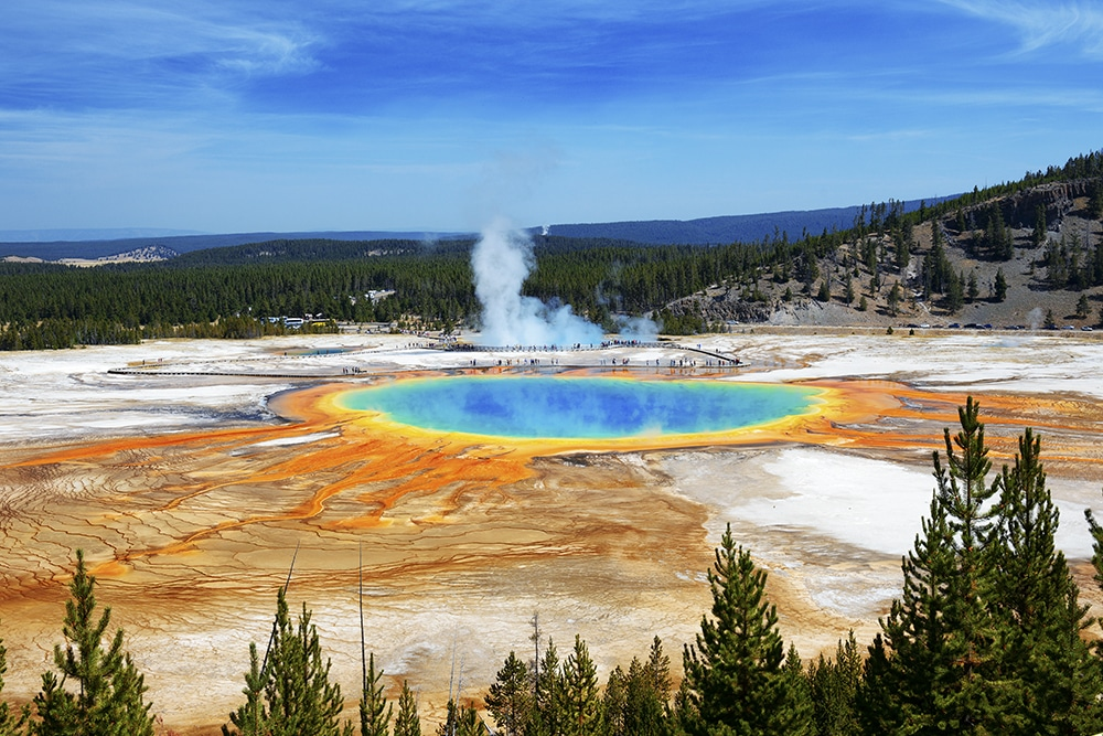 megadiverse countries: Grand Prismatic Springs in Yellowstone National Park