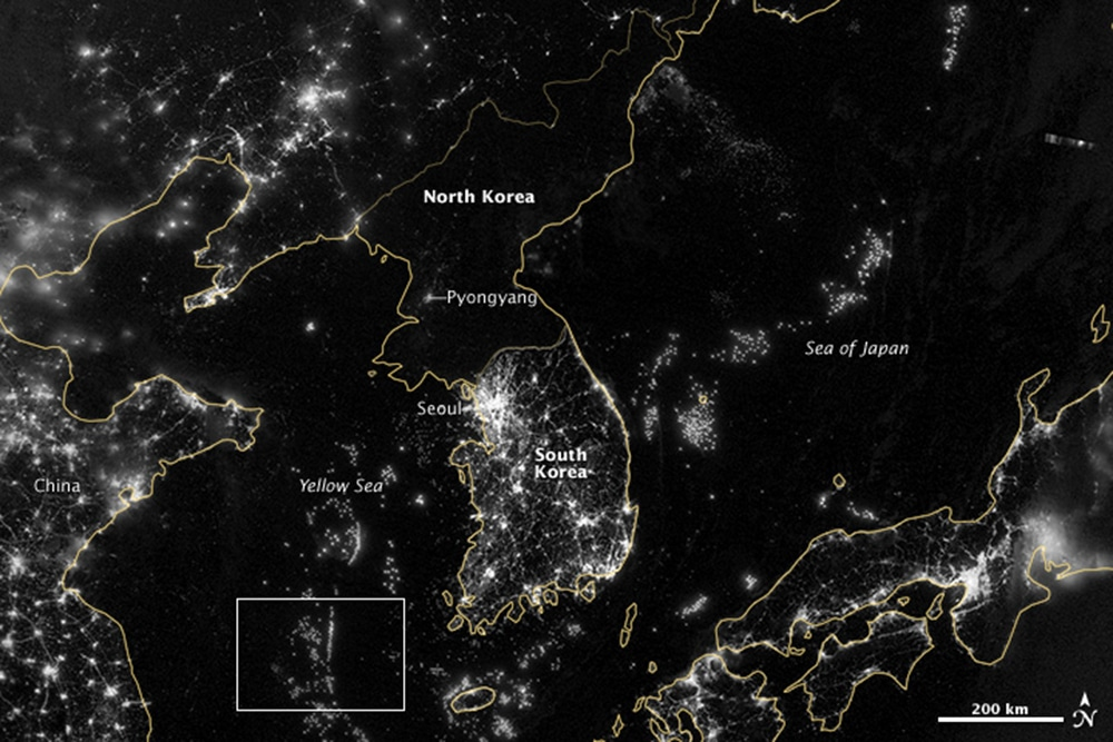 The Korean international border seen from space