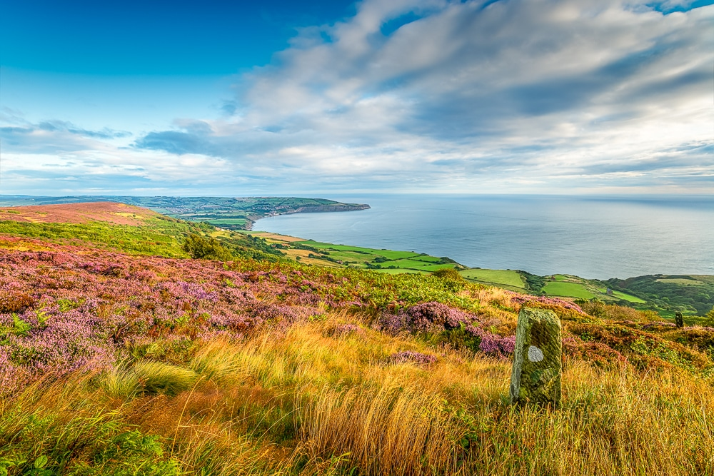 A typical coastal scene along the Cleveland Way, one of the best hikes in the North York Moors National Park