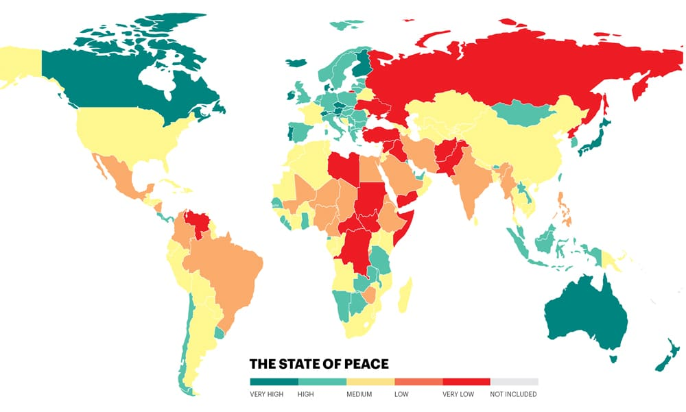 Colour-coded map of the most peaceful countries in the world