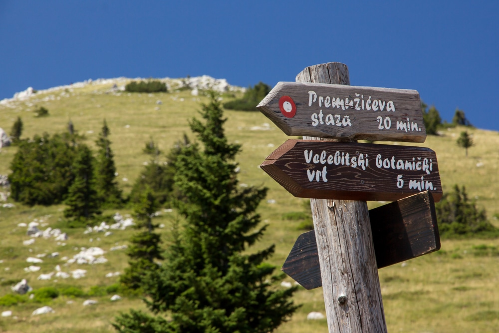 A trail sign in the Northern Velebit National Park