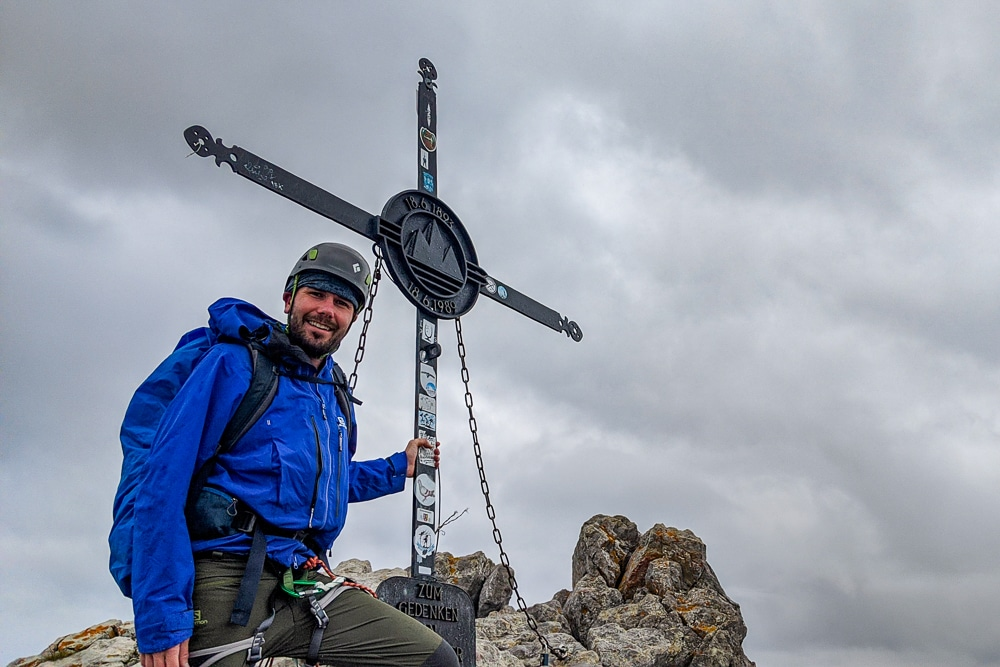 On the summit while hiking the Watzmann Traverse