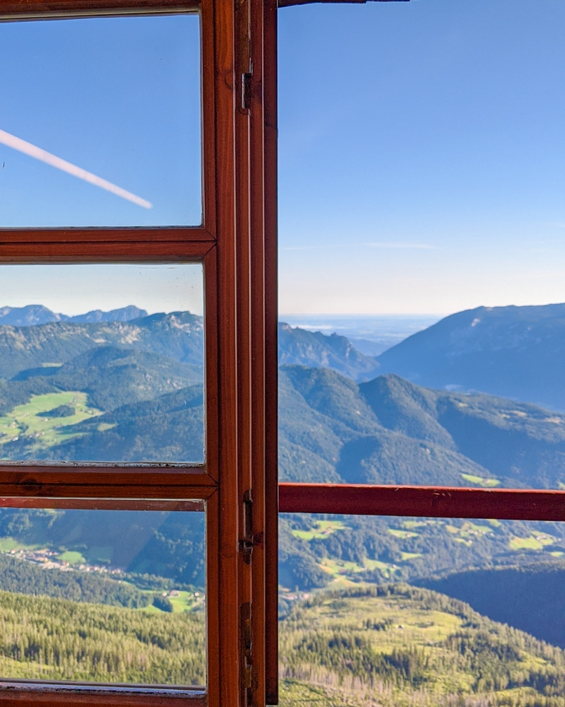 The view from the The Watzmannhaus while hiking the Watzmann Traverse and one of the best hikes in Berchtesgaden National Park