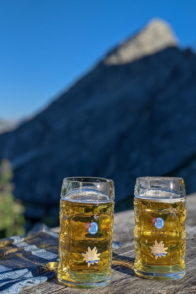 The beergarden at The Watzmannhaus while hiking the Watzmann Traverse