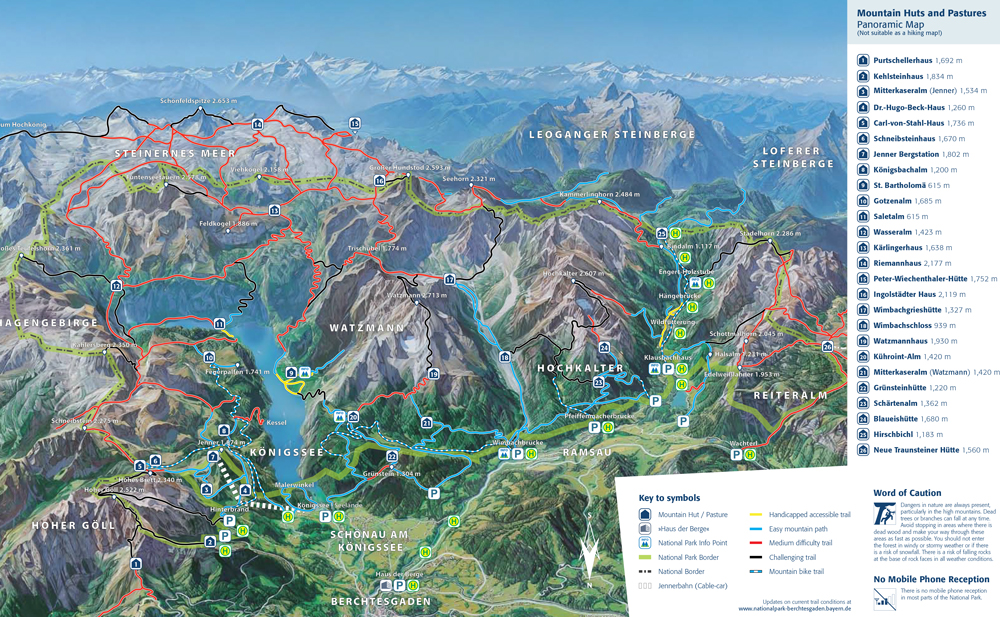map of the best hikes in Berchtesgaden National Park