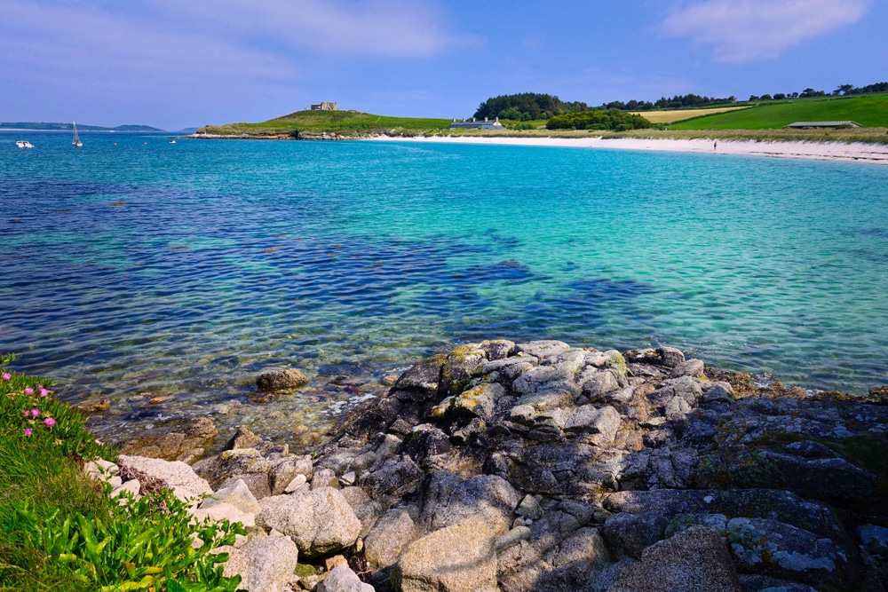 The incongruously blue waters of the Isles of Scilly