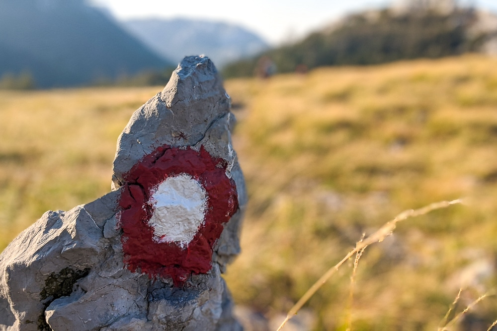 A trail marker on the Velebit