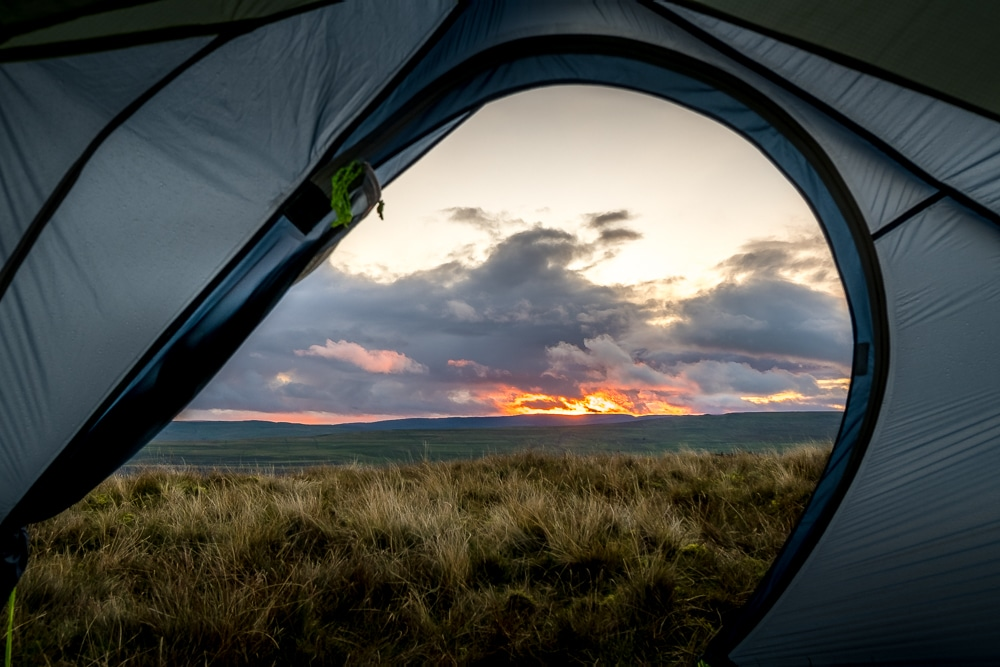 A view from inside a tent