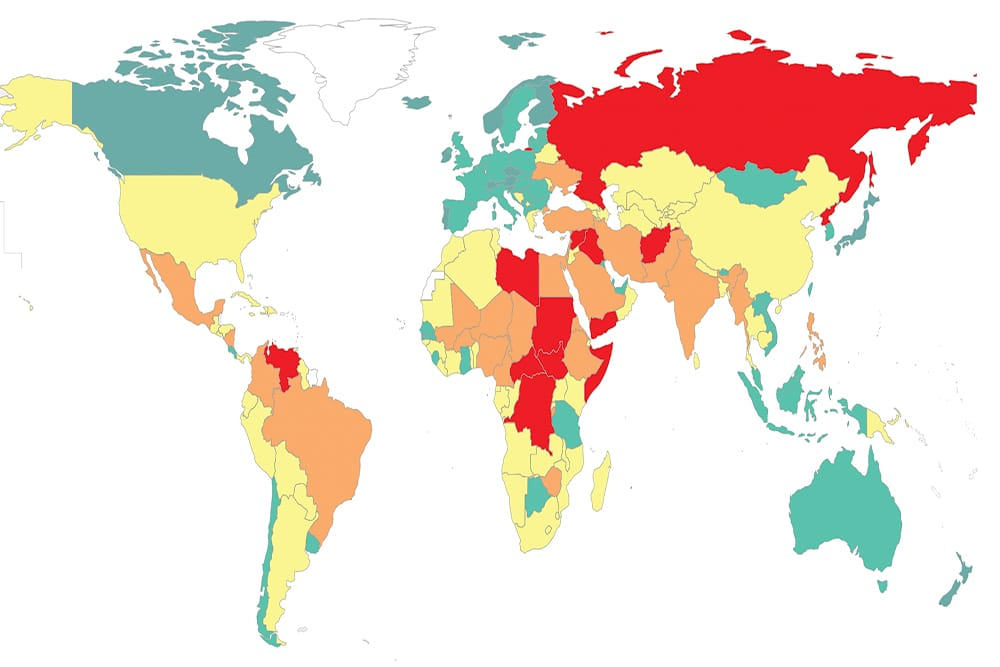 map of the most peaceful countries in the world 2021