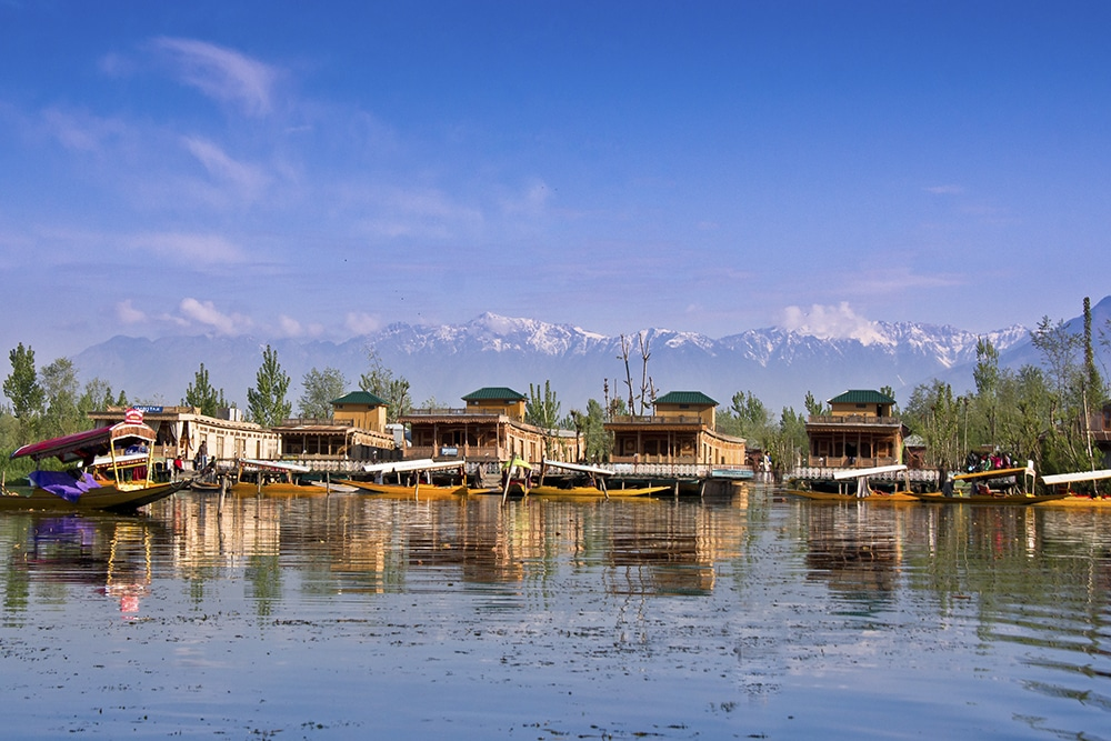 Houseboats on Dal Lake in Kashmir