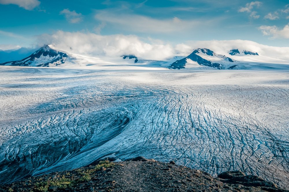 The expansive Harding Icefield in the Kenai Mountains of Alaska