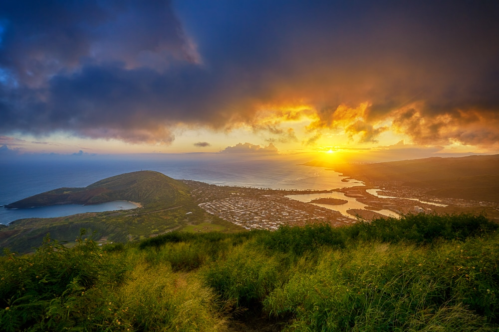The view from Koko Crater on the south shore of Oahu, Hawaii