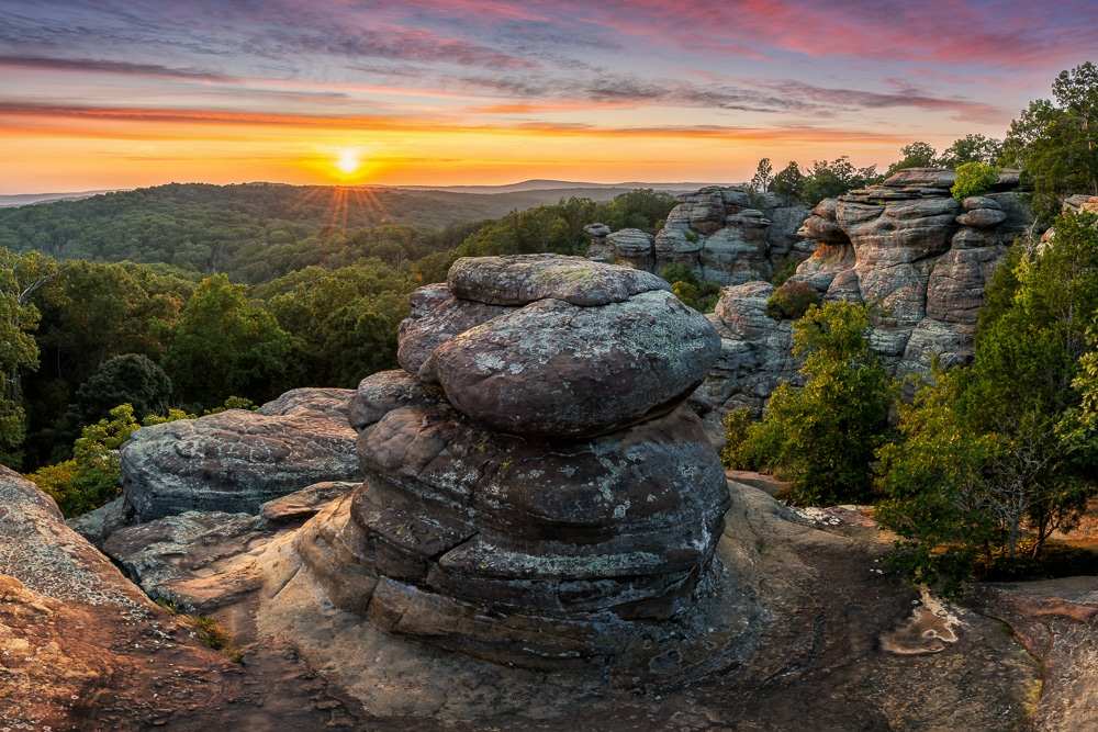 ock formations in the Garden of the Gods of Shawnee National Forest
