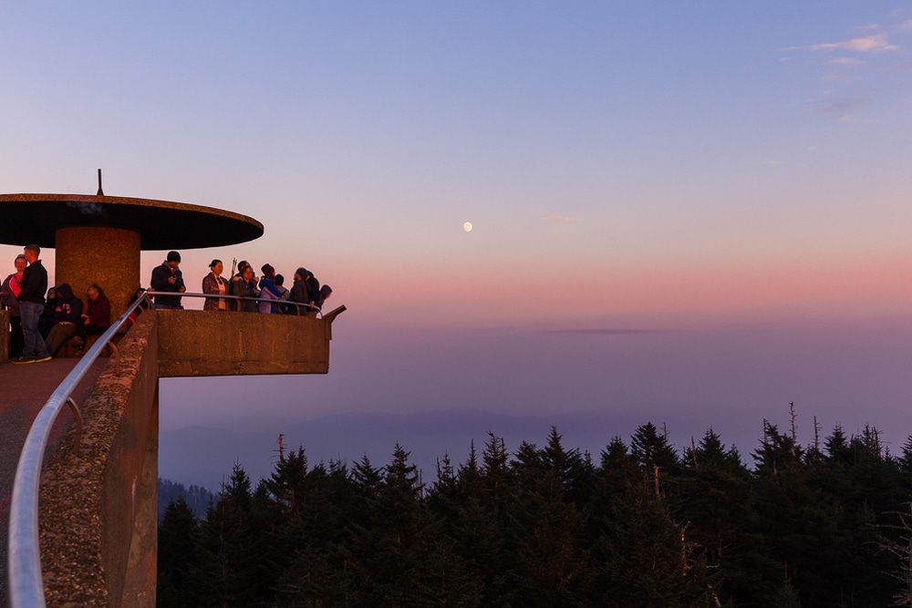 Walkers at the Clingmans Dome observation tower