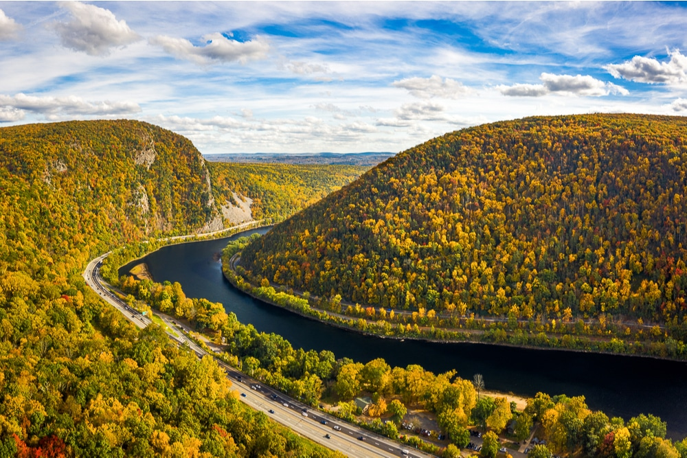Delaware Water Gap on the Pennsylvania-New Jersey border is one of the best hiking trails in every US state