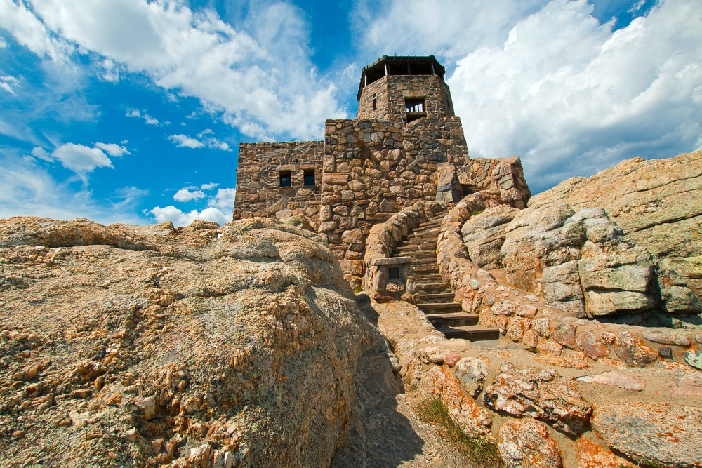 Harney Peak Fire Lookout Tower in the Black Hills of South Dakota