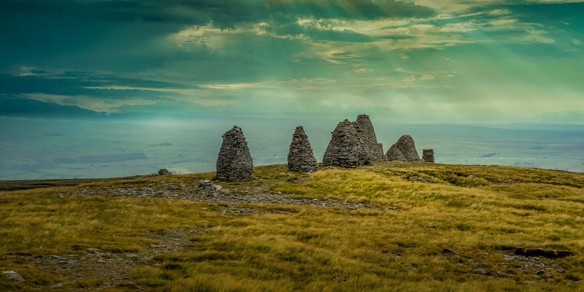 line of cairns in yorkshire