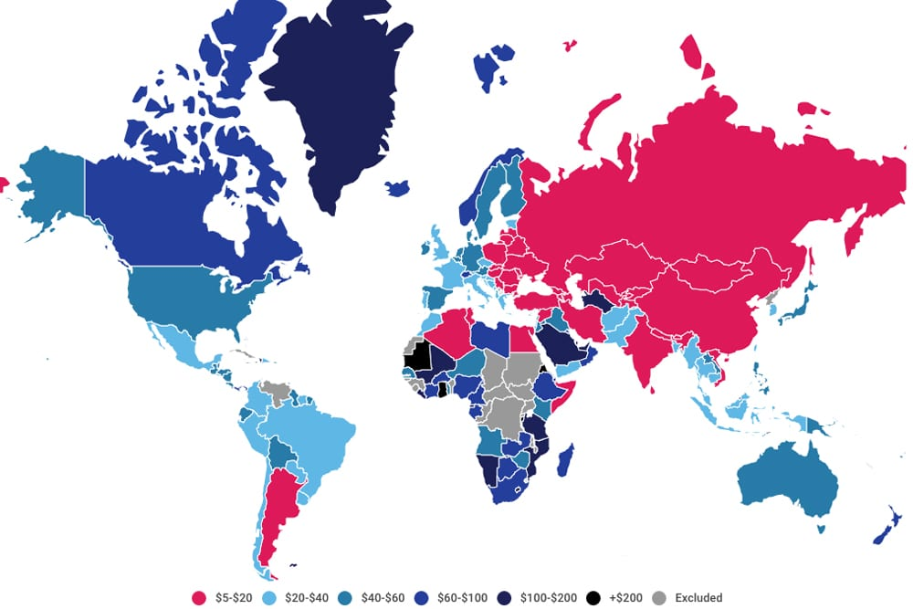 Map of the countries with the cheapest internet in the world