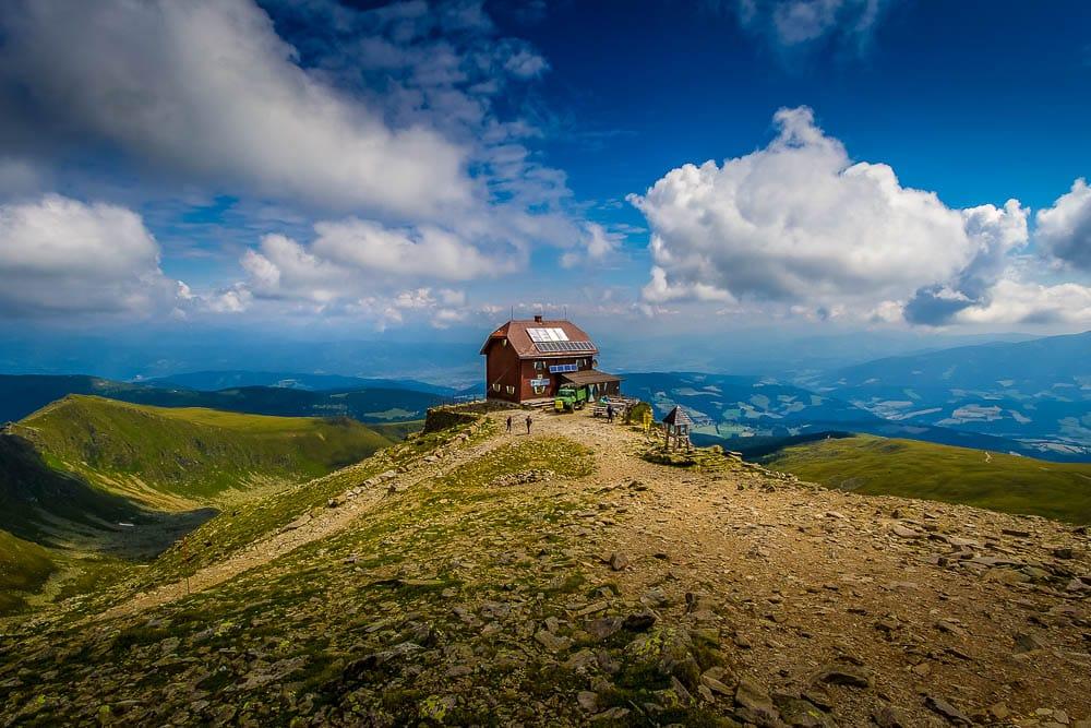 The mountain hut at Zirbitzkogel, one of the Highlander Adventure treks