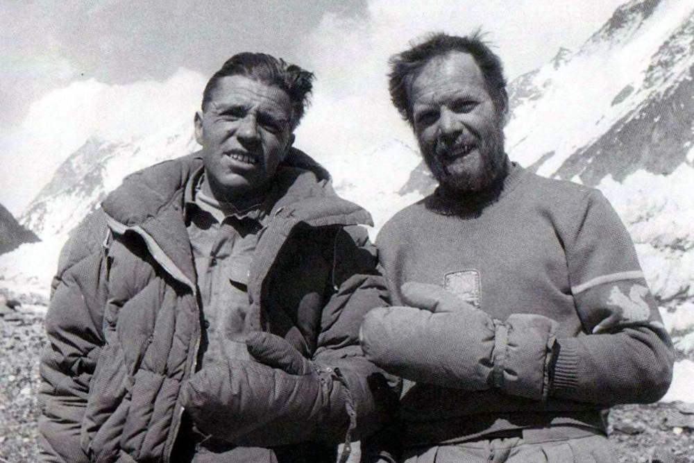 Compagnoni (left) and Lacedelli, frostbitten on their return from the summit of K2