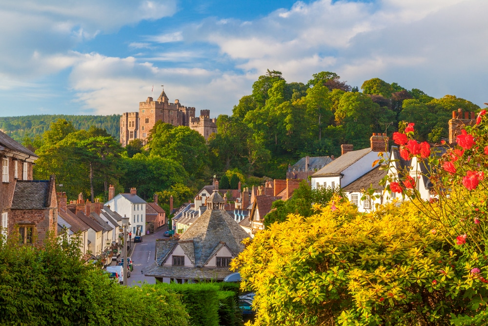 The village of Dunster and its castle in Exmoor National Park