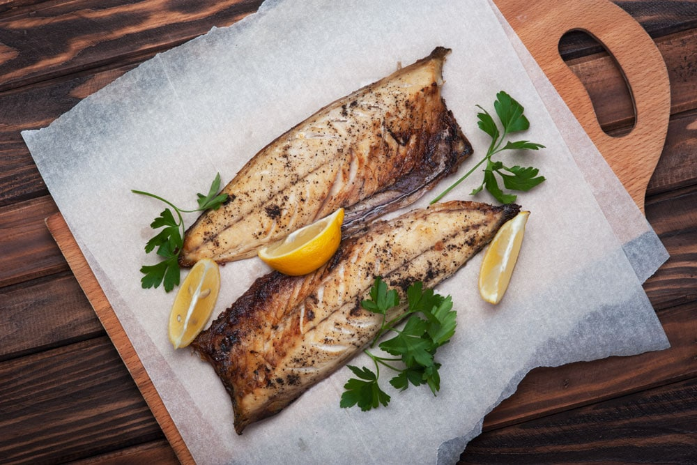 eating fish: on a plate