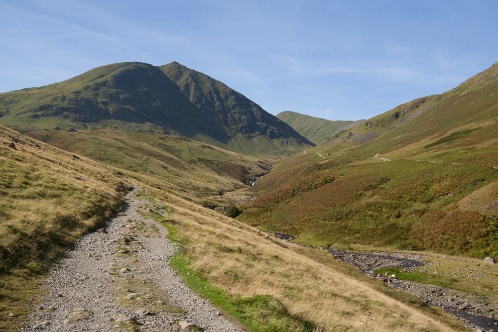 Helvellyn with hiking trail