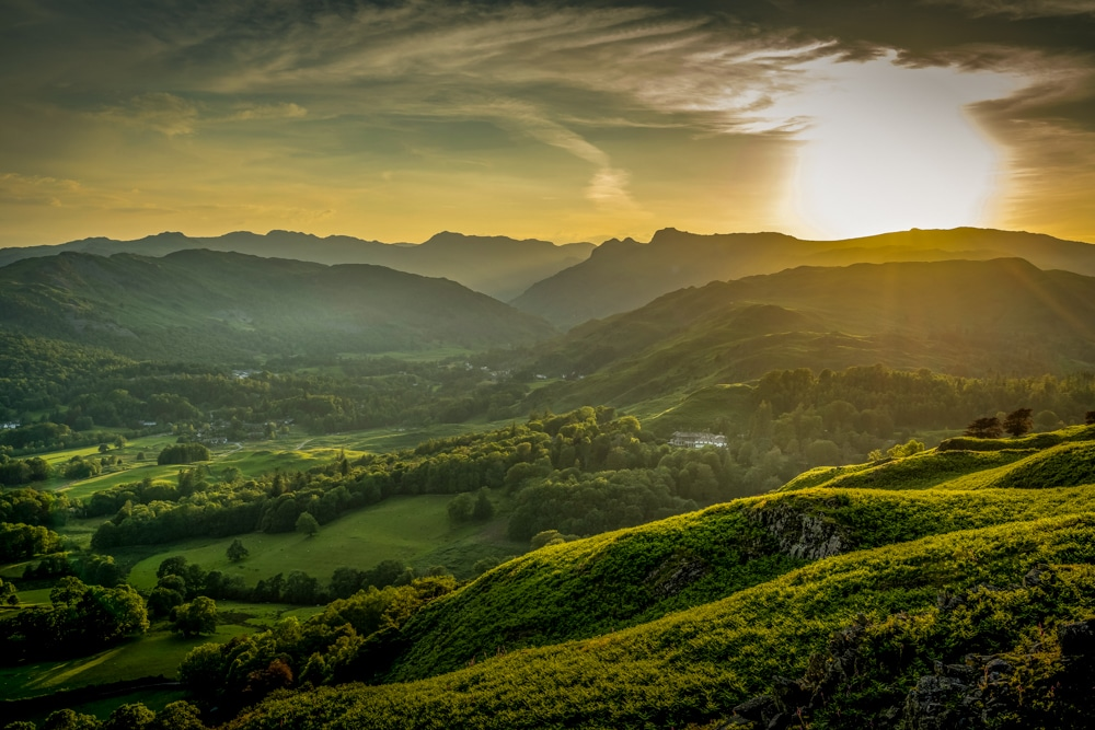 Sunset over Langdale Pikes