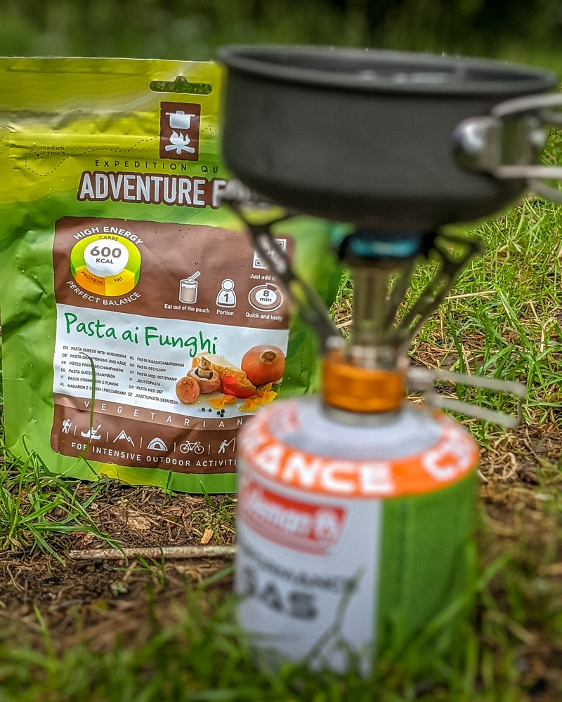 Camping stove, gas and dehydrated meal